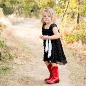 Black Ruffle Flower Girls Dress