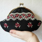 Black silk clutch wristlet with pink flower lace