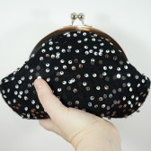Black clutch with silver sequins