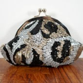 Black, silver, gold sequin clutch