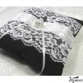 Black wedding ring bearer pillow with lace