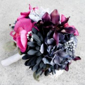Hot Pink Wedding Bouquet Gray Black Wedding Flowers Set