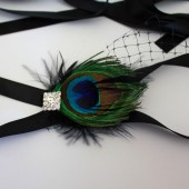 Peacock and Rhinestone Bridal Sash