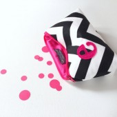 Hot Pink & Black white chevron personalized makeup bag