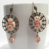 Hand embroidery earrings blush roses and lace.