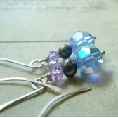 Blue and Lavender Crystal Earrings With Purple Pearls