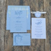 Blue Jean letterpress wedding invitation suite