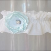 Flower Garter, Something blue garter, Rhinestone garter, aqua blue garter, handmade flower