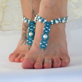 something-blue-barefoot-sandals, bride-foot-jewelry, beach-wedding-footwear, beach-wedding-shoes, blue, pearl, hemp
