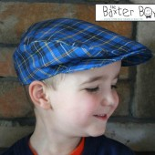 Blue plaid newsboy hat