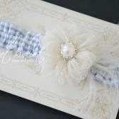 Blue Seersucker and Ivory Garter