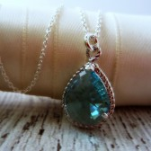 Light Blue Pear Shaped Bridesmaid Necklace