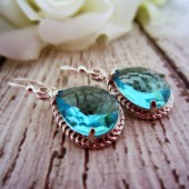 Blue Faceted Teardrop Earrings