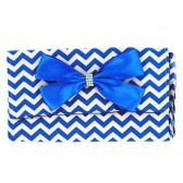 Blue Chevron Wristlet Clutch