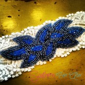 Blue Peacock Garter Set