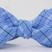 blue plaid seersucker bowtie