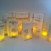 Architect Wedding, Blueprint Luminaries, Vellum Luminary