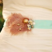 Robin's egg blue sash with pearls and vintage brooch