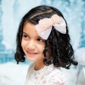 Girls blush bow hairclip. Aleyna 01