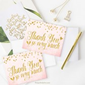 Blush Pink & Gold Confetti Thank You Cards By The Spotted Olive