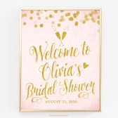 Blush Pink & Gold Confetti Personalized Bridal Shower Welcome Sign DIY Printable by The Spotted Olive