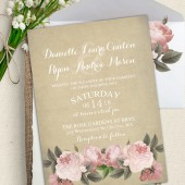 Rustic Vintage Wedding Set with Blush Peonies on Vintage paper