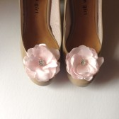 Blush Pink Satin Flower Shoe clips with rhinestone center Handmade Wedding Bridal shoe clips OR Hair clips
