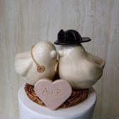 Firefighter Love Bird Cake Topper