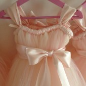 blush flower girl dress with ice pink accents