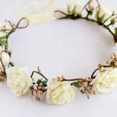 Boho Hair Crown, Cream Shining Rose Crown, Woodland Halo, Cream Rose Crown