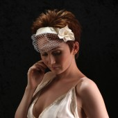 Birdcage Headband with Silk Flower