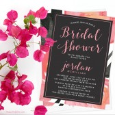 Bold Watercolor Floral Bridal Shower Invitations by The Spotted Olive