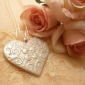 Bride Bouquet Charm, Bridesmaid Bouquet Charm, Wedding Party Bouquet Charm, Ivory Heart, Handmade Wedding Accessories, Wedding Keepsake Ornament, Handmade Polymer Clay