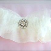 Bow Garter, ethereal Tulle Bow, Rhinestone Garter, Bow tie Bridal Garter, Wedding Garter with Bow