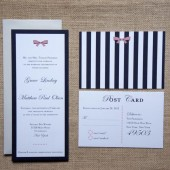Preppy Bows and Stripes Wedding Invitations