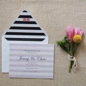 Preppy Bows and Stripes Save the Date Cards