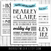 Typography Wedding Invitations - rustic wedding, beach wedding