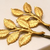 Brass Leaf Hair Pins
