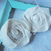 White Burlap Flowers