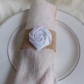 Rosette and Burlap Napkin RIng