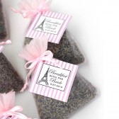 bridal brunch, bridal shower, favors, Paris theme, pink, lavender sachet