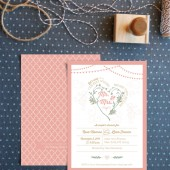 Romantic engagement party invitations. Rustic chic couple's shower soirée. Elegant bridal shower cards. DIY or printed on thick card stock.