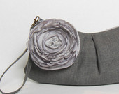 gray clutch with lagre fabric flower