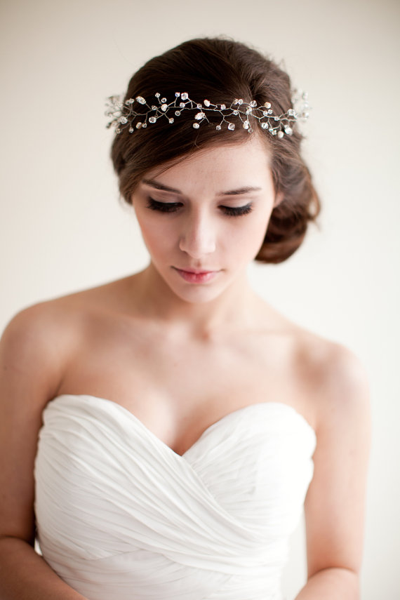 Bridal Crown Wedding Tiara (by Melinda Rose Design via EmmalineBride.com - The Marketplace) #handmade #wedding