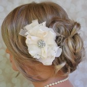 chiffon rhinestone bridal hair flower fanciestrands