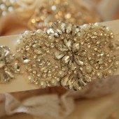 Rhinestone, crystal and pearl bridal sash