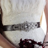 Pewter sash with ArtDeco crystal applique
