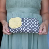 Bridesmaid Clutch Purse, Grey Yellow and Aqua