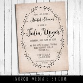 Rustic Laurel Bridal Shower Invitation
