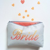 coral and grey bride makeup bag